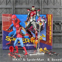 "Load image into Gallery viewer, Marvel Spiderman Homecoming 6"" Action Figure Spider man Holland Avengers Iron Man Ironman MK47 Mark47 KO's SHF Legends Toys Doll - Veve Geek"