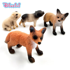 Mini Simulation Red Fox Porket Pig animal models figurine forest wild animals plastic Decoration educational toys Gift For Kids - Veve Geek