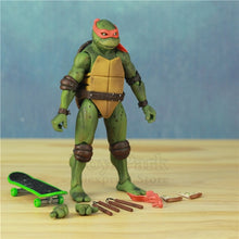 "Load image into Gallery viewer, SET of 4 1990's Turtles 7"" Action Figure Raphael Leonardo Michelangelo Donatello Ninjas KO's NECA Gameshop Exclusive Toys Doll - Veve Geek"