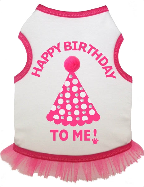 Birthday Hat Tank Dress W/rhinestones -White/pink