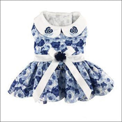 Blue Rose Harness Dog  Dress with Matching Leash