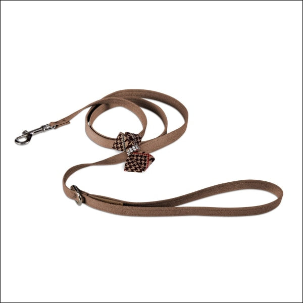 Chocolate Glen Houndstooth Nouveau Bow Leash