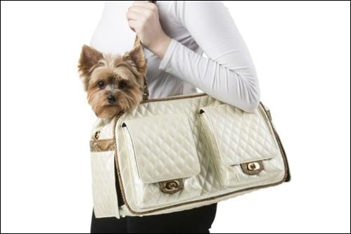 Marlee Ivory Quilted With Snake Pet Carrier