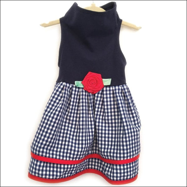 Navy Top With Multi Gingham Layer Dress