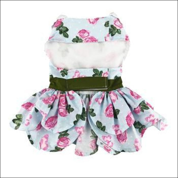 Pink Rose Harness Dog Dress With Matching Leash