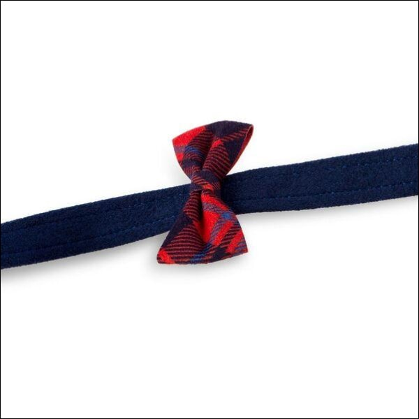 Scotty Leash Chestnut Plaid Bow Tie