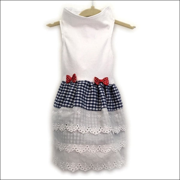 White Top With Gingham And Eyelet Dress