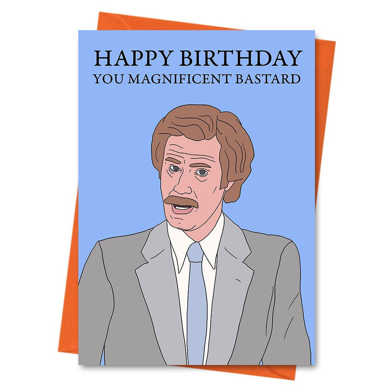 Funny Anchorman Card, Anchorman Card, Ron Burgundy Card, Humour Card, American Comedy Card - You Magnificent Bastard  Greetings Card