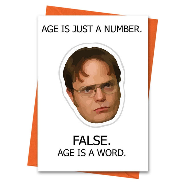 Funny Birthday Card, The Office US, Dwight Schrute, - Age is Just a Number  Office TV Series Greeting Card