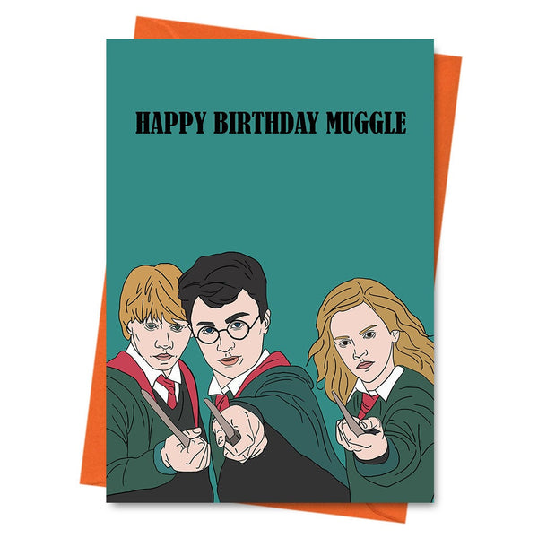Funny Birthday Card, Harry Potter Inspired Birthday Card, Hermione, Ron, Wizard Card, Hogwarts Card -  Happy Birthday Muggle Greeting Card