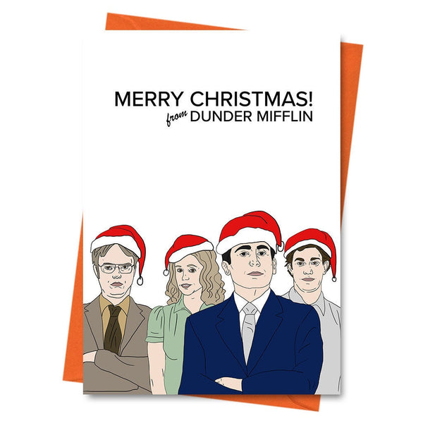 Funny Christmas Card The Office US Michael Scott Dwight Schrute Funny Holiday Card Xmas - Merry Christmas from Dunder Mifflin Greeting Card