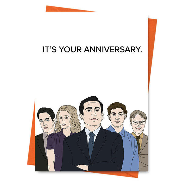 Funny Anniversary Card, Funny Love Card, The Office US, Michael Scott, Dwight Schrute-  It's Your Anniversary Office TV Series Greeting Card