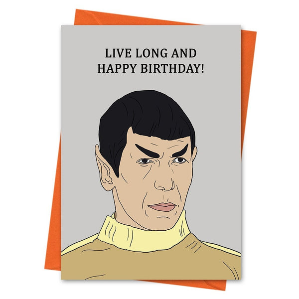 Star Trek Birthday Card, Funny Birthday Card, Spock Card, - Live Long and Happy Birthday Greeting Card