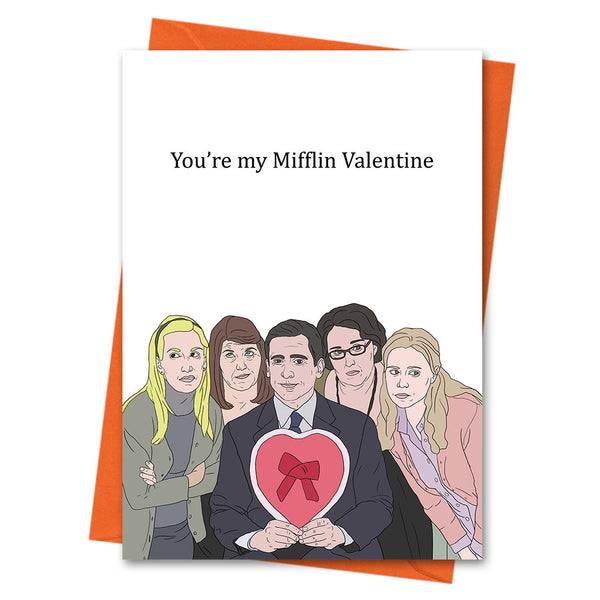 Funny Anniversary Card, The Office US Funny Love Card, Valentine Card, Michael Scott Card - You're My Mifflin Valentine Greeting Card