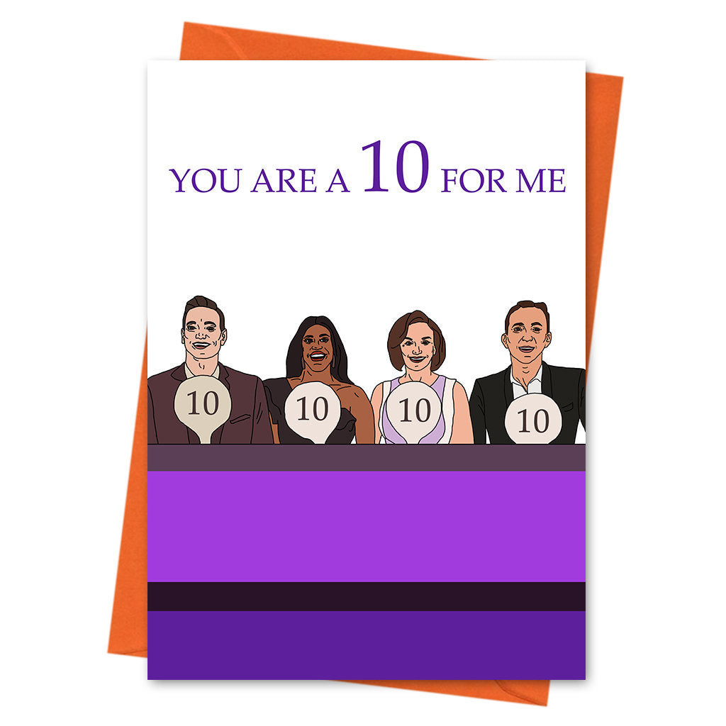 Funny Anniversary Card, Strictly Come Dancing Funny Love Card, Strictly Card, Valentine Card - You Are A 10 For Me Greeting Card