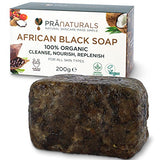 PraNaturals 100% Organic Raw African Black Soap 200g, Ethically Sourced and Handcrafted in Ghana, For All Skin Types, Detoxifying and Anti-Ageing All Pure Natural Treatment, Vegan, Unprocessed