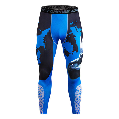 Fitness Leggings Men's New Compression Stretch Pants Quick-dry Comfort Pants Spider Print