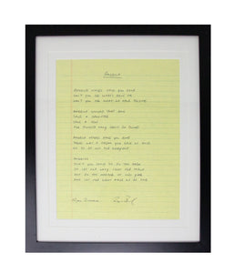 Ryan Bingham America Framed Handwritten Lyrics