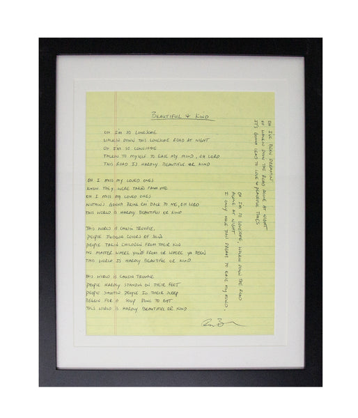 Ryan Bingham Beautiful And Kind Framed Handwritten Lyrics