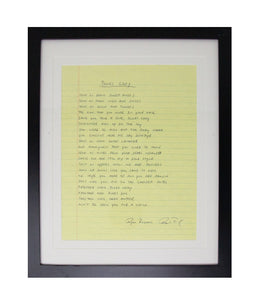 Ryan Bingham Blues Lady Framed Handwritten Lyrics