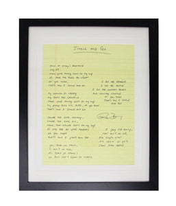 Ryan Bingham Jingle And Go Framed Handwritten Lyrics