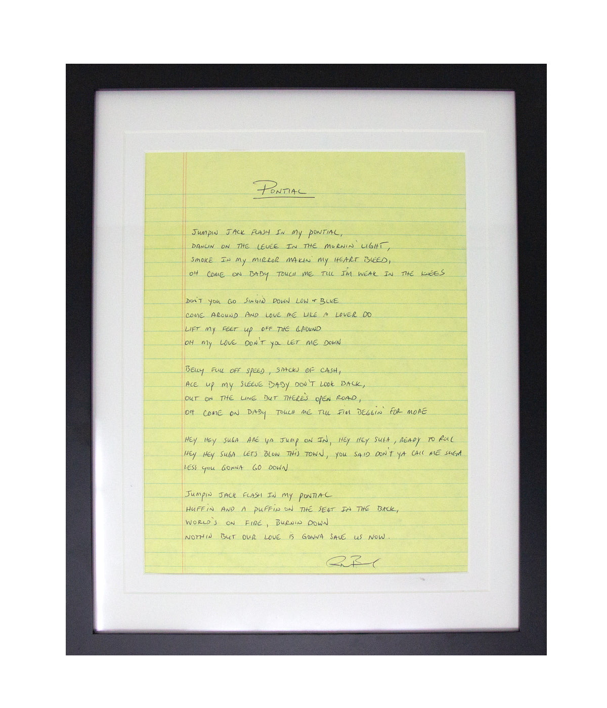 Ryan Bingham Pontiac Framed Handwritten Lyrics