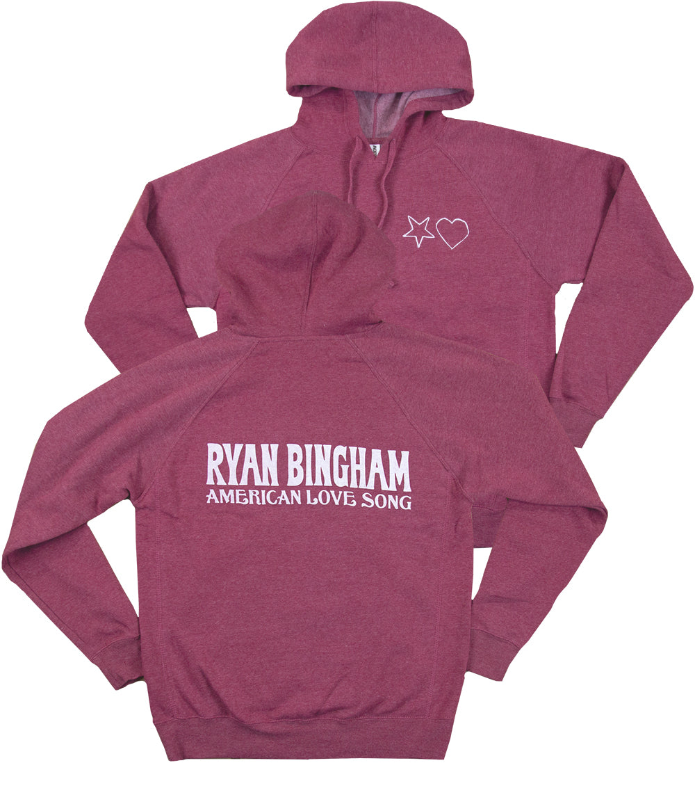 Ryan Bingham American Love Song Hooded Sweatshirt (Heather Crimson)