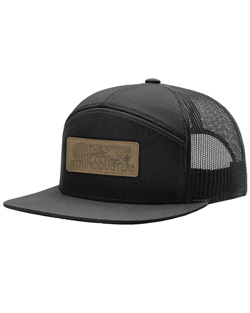 The Infamous Stringdusters 7 Panel Leather Patch Trucker Hat