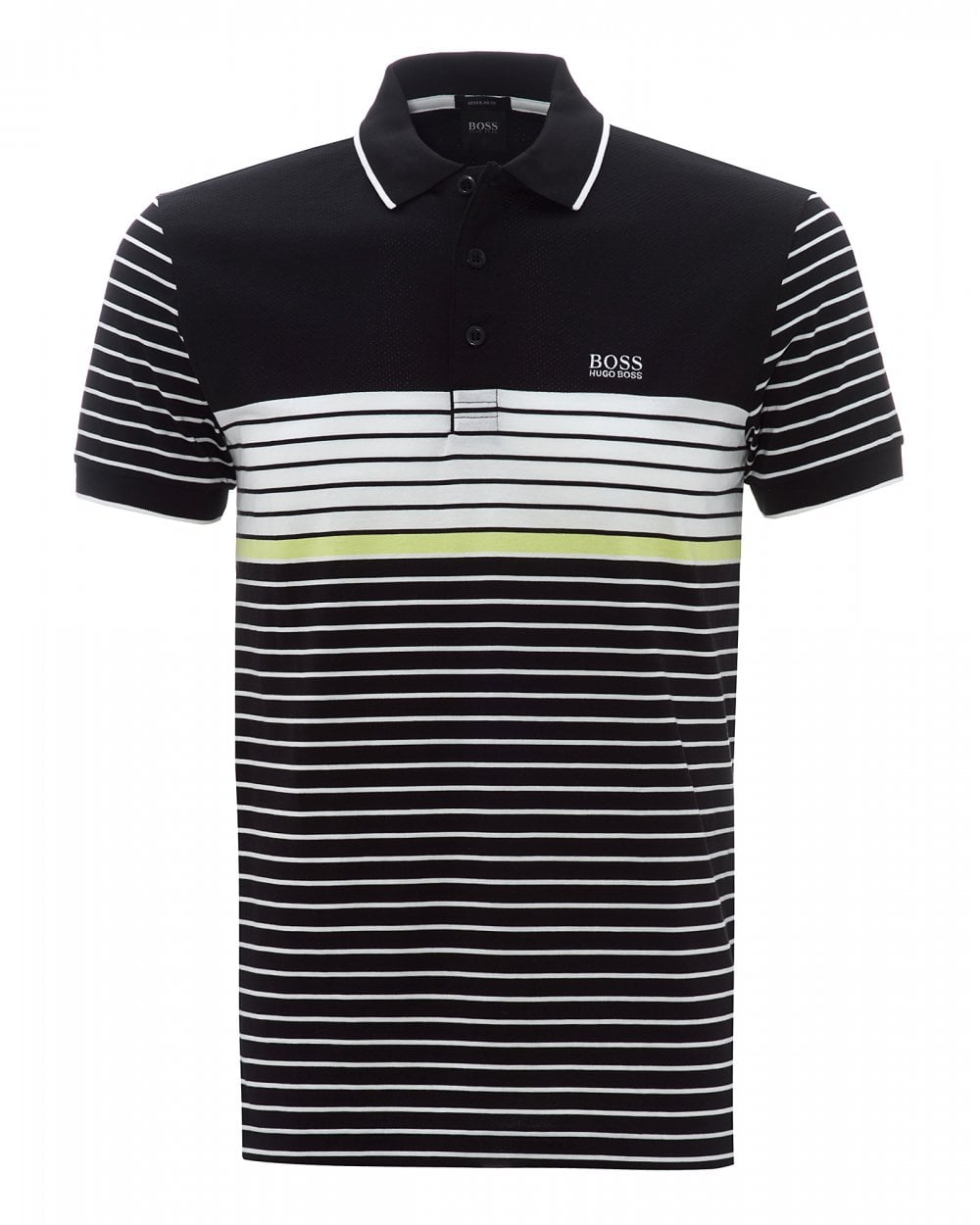 Mens Paddy 7 Black Striped Regular Fit Polo Shirt