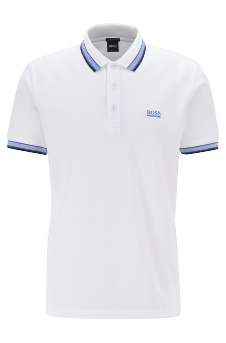 Cotton-piqué polo shirt with logo undercollar Colour Neutral