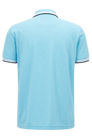Cotton-piqué polo shirt with logo undercollar Colour Turquoise