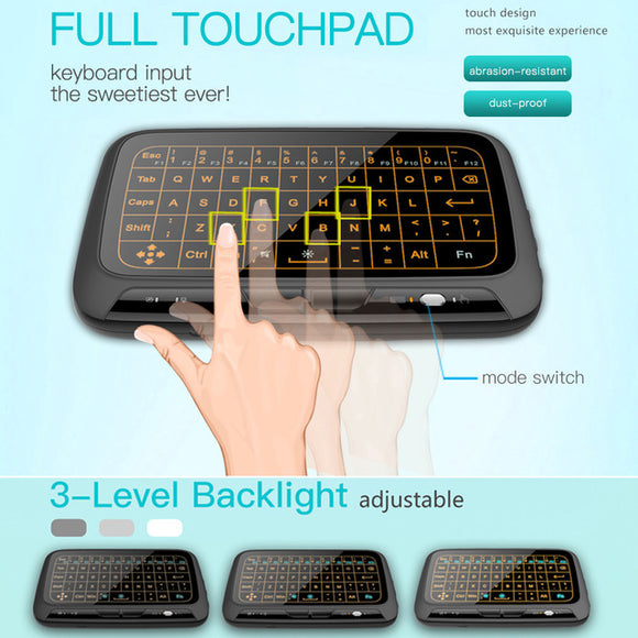 USB3.0 2.4GHz Wireless Keyboard Full Touchpad Backlight Keyboard with Large Touch Pad Remote Control for Android TV Box Smart TV