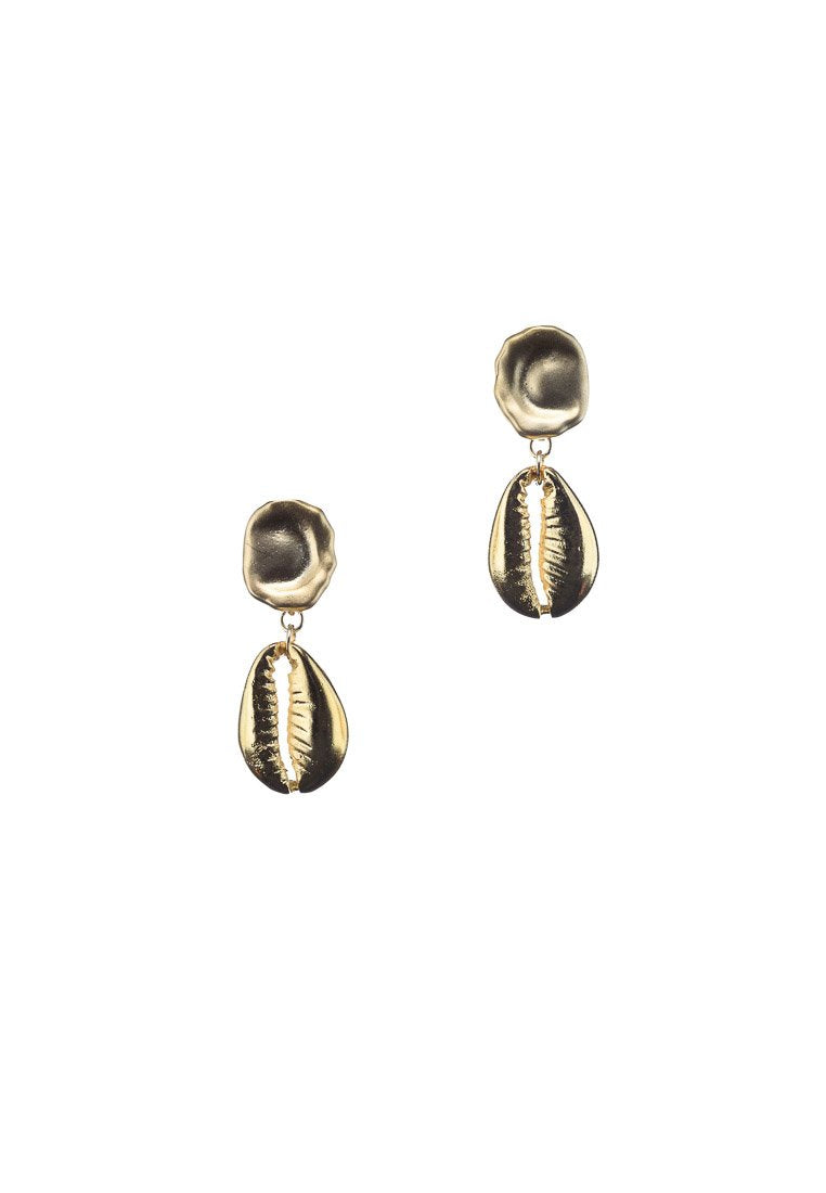 Corlie Cowrie Shell Matte Gold Earrings | Antonia Y. Jewelry