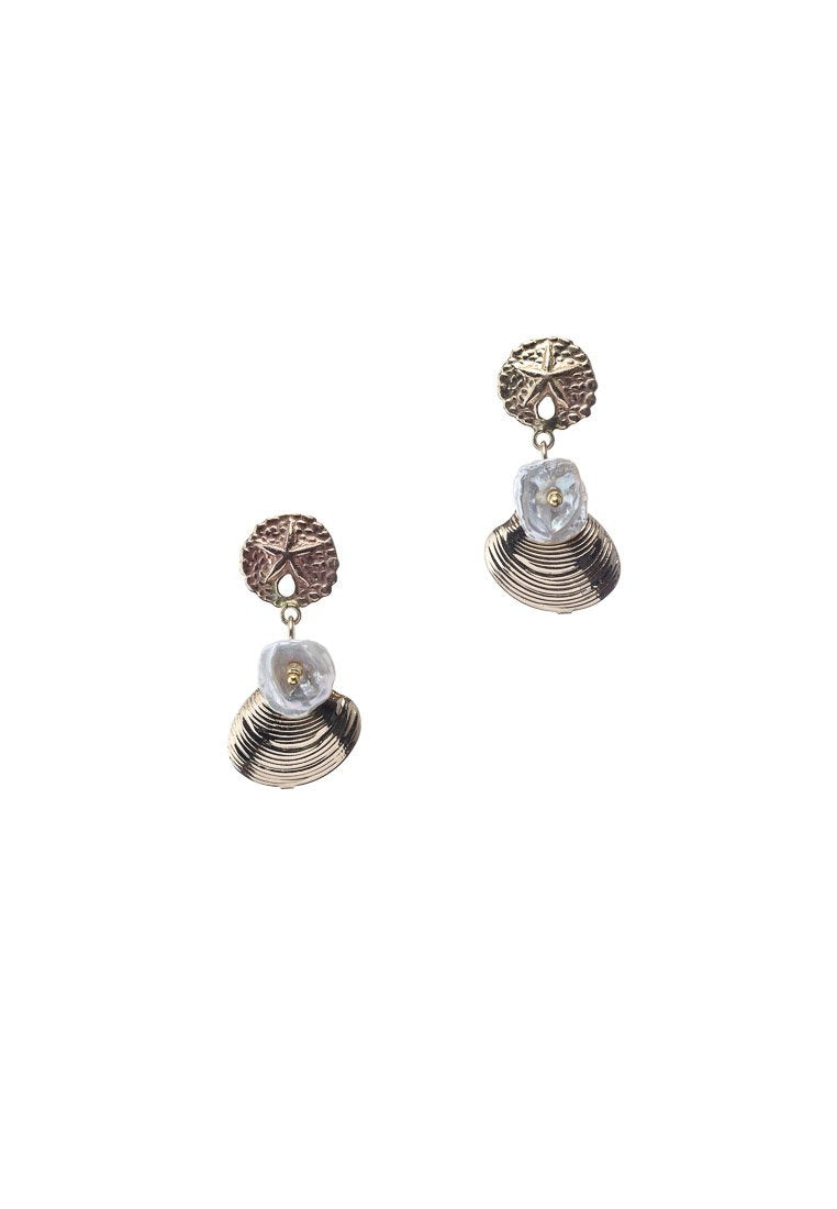 Olivia Shells & Fresh Water Pearls Earrings - Antonia Y. Jewelry