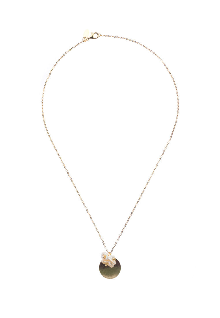 Erika Gold Disc Pearl Necklace - Antonia Y. Jewelry