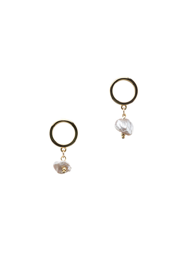 Pearly Gold Stud Earrings - Antonia Y. Jewelry