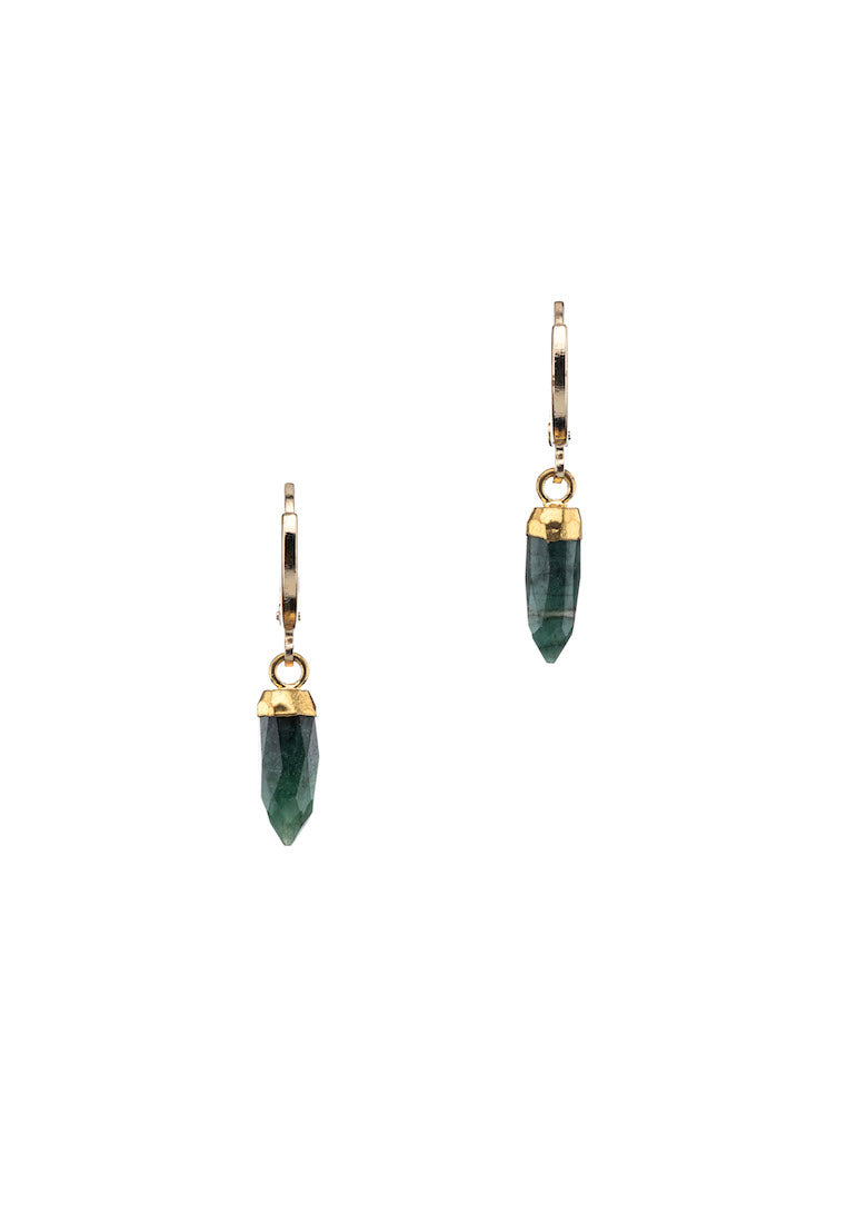 Dainty Emerald Hoops - Antonia Y. Jewelry