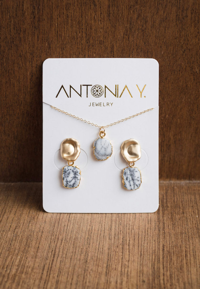 Misty Dendrite Opal Necklace and Earrings Set - Antonia Y. Jewelry
