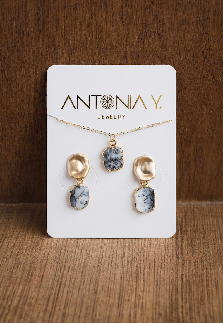 Stormy Dendrite Opal Pendant and Earrings Set | Antonia Y. Jewelry