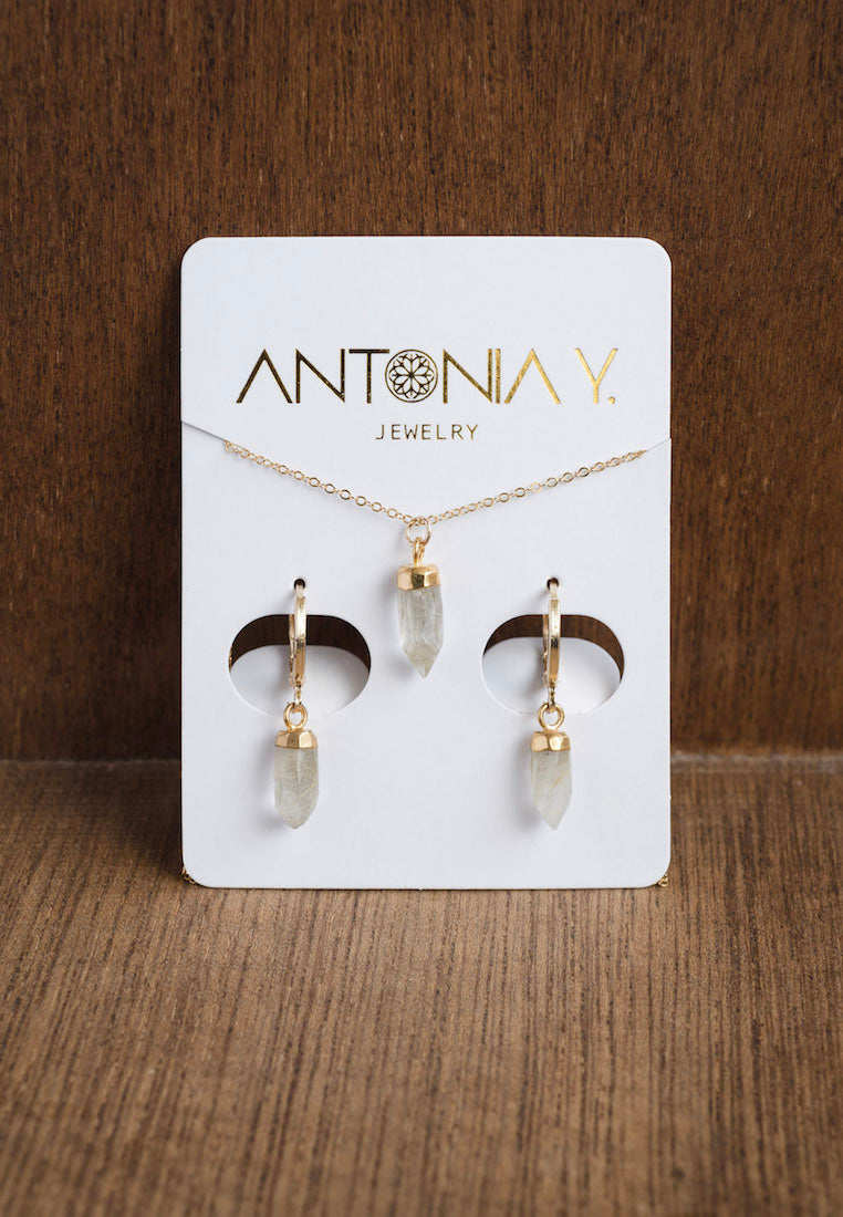 Ivory & Bone Quartz Necklace & Earrings Gift Set | Antonia Y. Jewelry