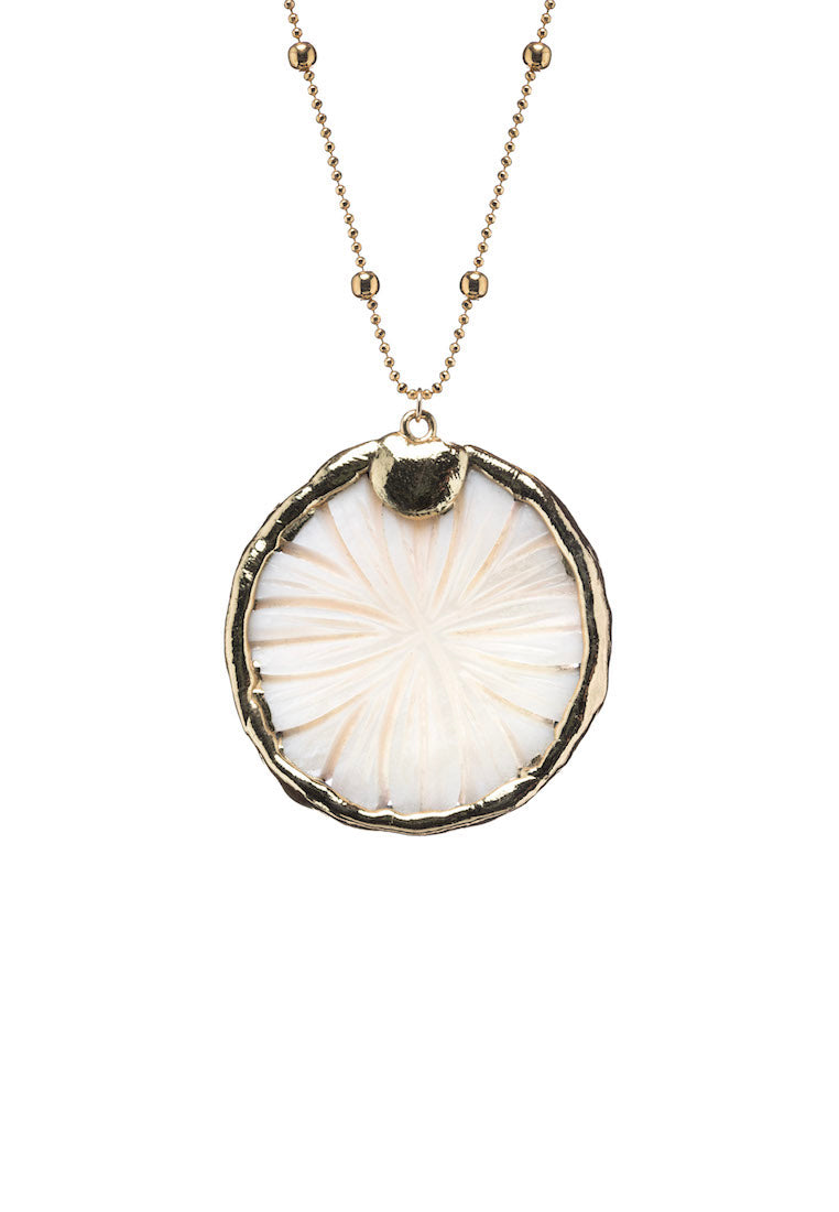 Camila Mother of Pearl Coin Necklace - Antonia Y. Jewelry