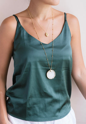 Camila Mother of Pearl Coin Necklace | Antonia Y. Jewelry