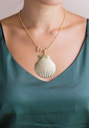 Sadie Gold Dipped Seashell Necklace | Antonia Y. Jewelry