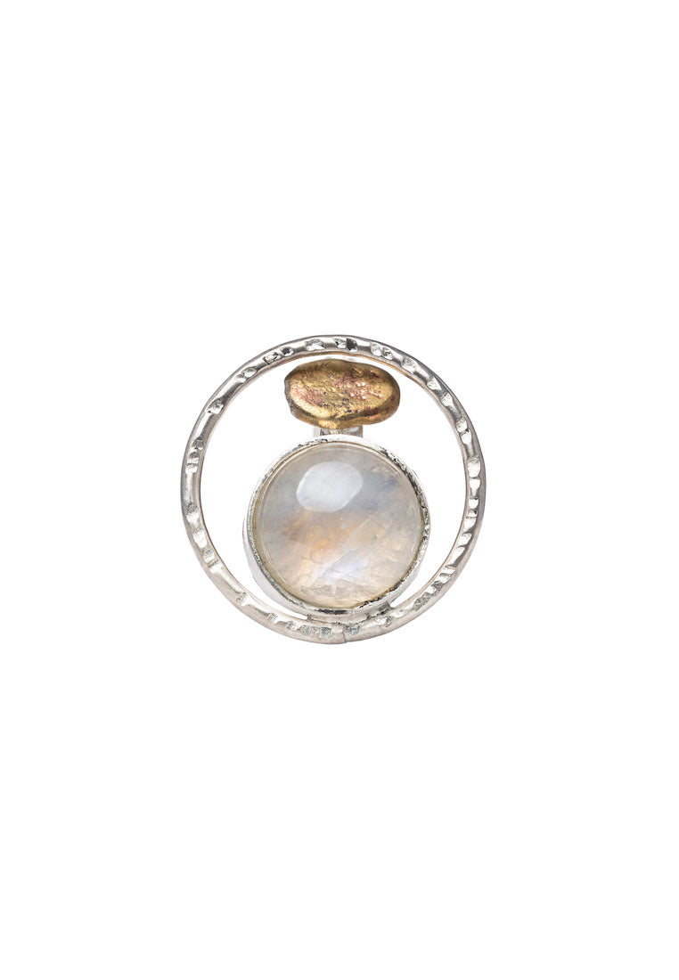 Silver Orbit Moonstone Ring | Antonia Y. Jewelry