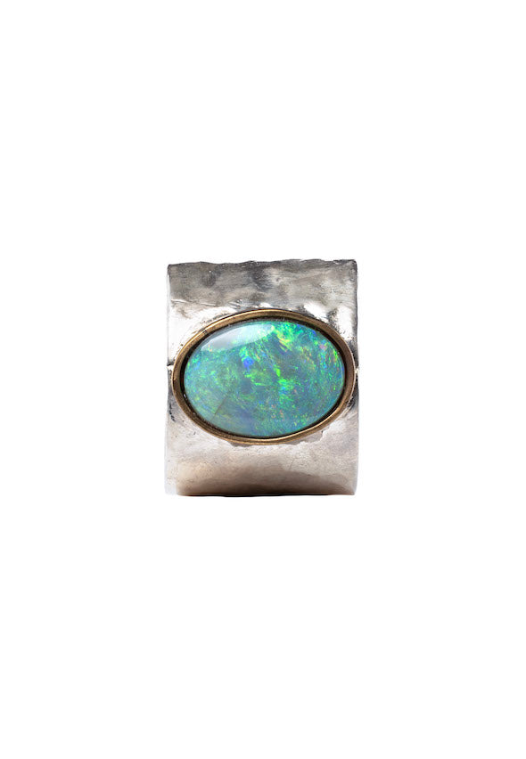 Abalone Large Oval Opal Silver Ring - Antonia Y. Jewelry