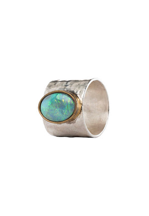 Abalone Large Oval Opal Silver Ring | Antonia Y. Jewelry