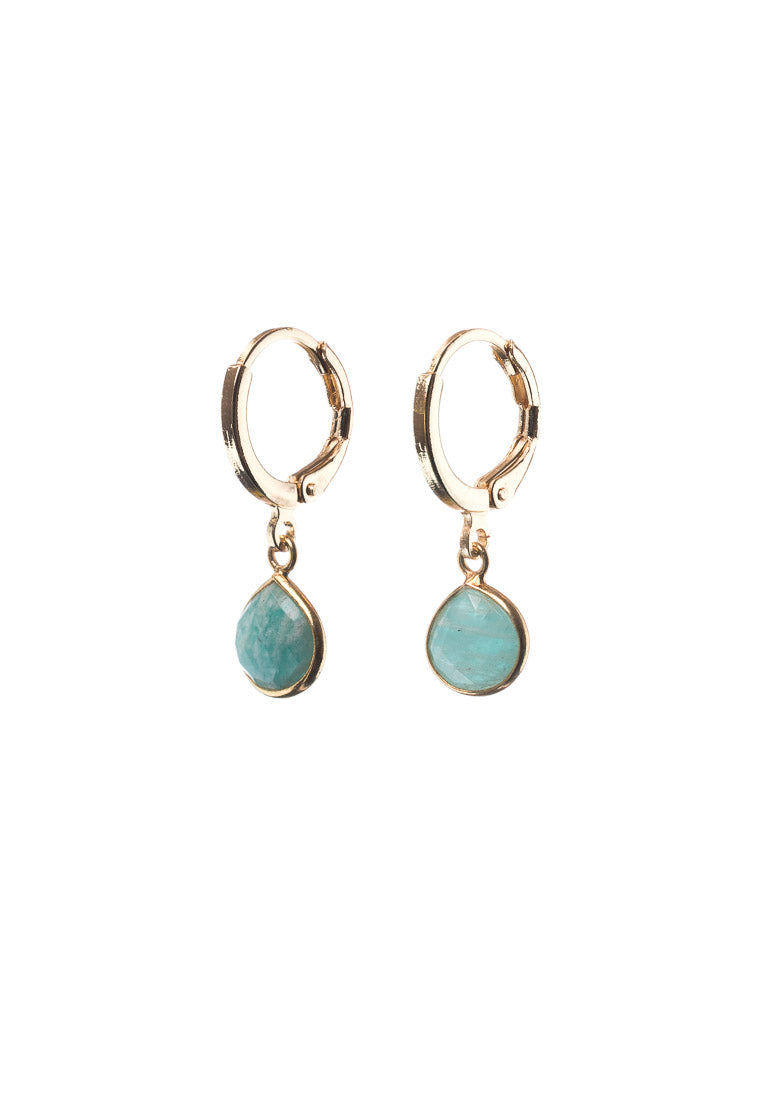 Dainty Amazonite Gold Hoops | Antonia Y. Jewelry