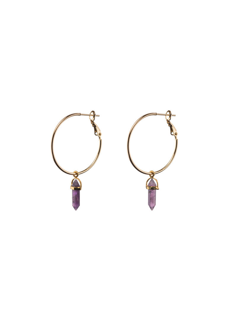 Amethyst Large Gold Filled Hoops - Antonia Y. Jewelry