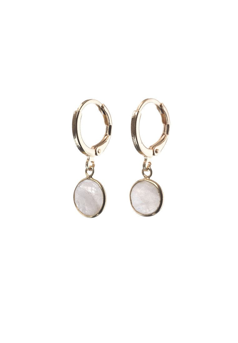 Dainty Round Moonstone Hoops | Antonia Y. Jewelry
