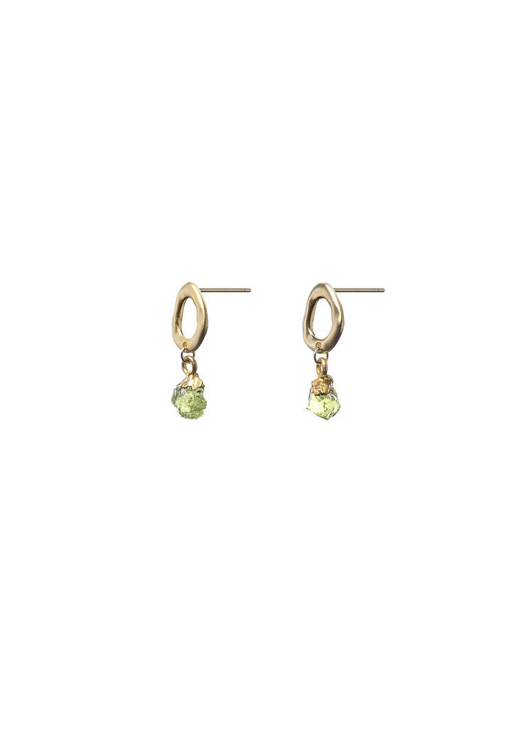 Raw Green Peridot Gold Studs | Antonia Y. Jewelry